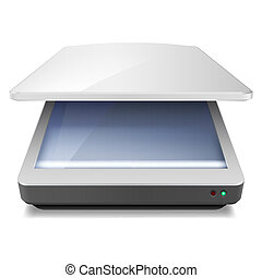Scanner - Opened Office Scanner. Illustration on white...