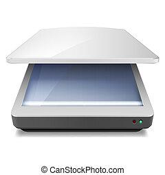 Scanner - Opened Office Scanner. Illustration on white...