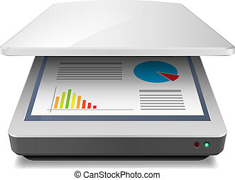 Scanner - Opened Office A4 Scanner Illustration on white
