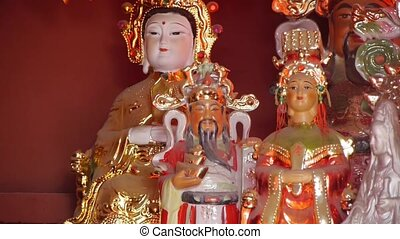Gorgeous statues.Chinese God sculpture of wealth.Matsu...