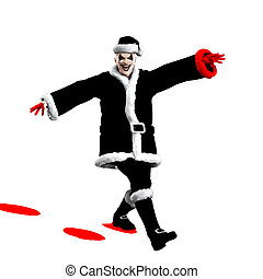 Evil Santa Claus clown skipping through the snow.
