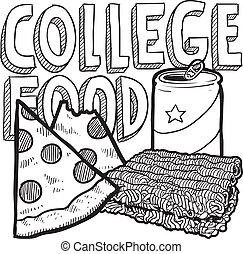 College food sketch - Doodle style college food illustration...