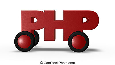 php on wheels - php tag on wheels - 3d illustration