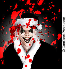 Evil Santa Clown With Blood - Evil clown Santa covered in...
