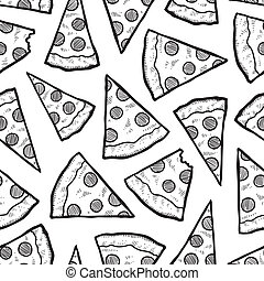 Seamless pizza vector background - Doodle style pizza slice...
