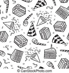 Seamless party vector background - Doodle style party or...