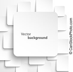 Paper square banner with drop shadows on white background...