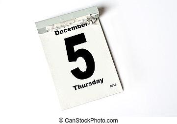 5 December 2013 - calendar sheet