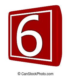 3d Render Font Set 1 Number 6