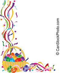 Easter Eggs Basket Confetti Border Illustration - Colorful...
