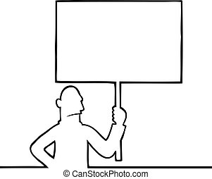 Angry man holding a protest sign - Black line art...