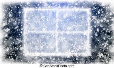 Snow-covered window
