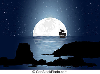 Half Moon With Sailboat - Half big moon over the ocean along...