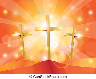 Easter Good Friday Gold Crosses Illustration - Happy Easter...