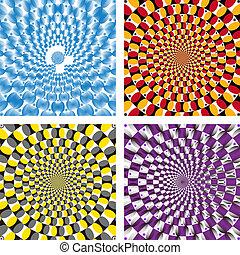 vector, óptico, ilusión, vuelta, ciclo