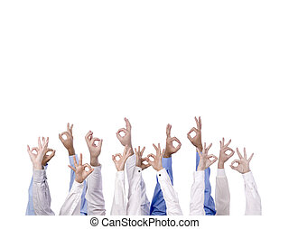 diverse group with three fingers - Diverse group with three...