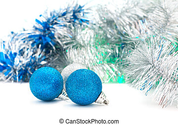 Christmas shiny  blue balls with silver garland
