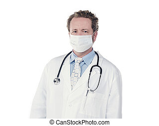 doctor wearing surgical mask - Portrait of a young doctor...