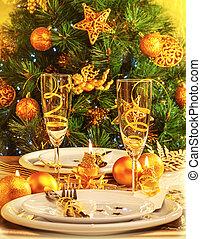 Christmas dinner in restaurant - Christmas eve dinner in...