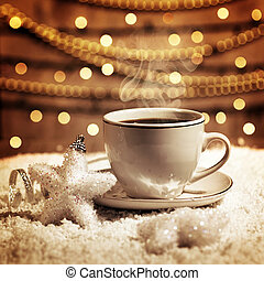 Christmas coffee - Photo of luxury white cup with tasty...