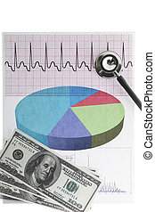 electrocardiogram with a stethoscope dollar notes -...