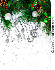 Christmas carol - Photo of Christmas tree border, silver...