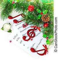 Christmas musical border - Image of red festive treble clef...