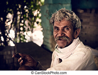 old indian villager - Portrait of indian villager while...