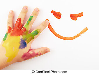 Childs hand stained in paint on white paper draws a smiley...