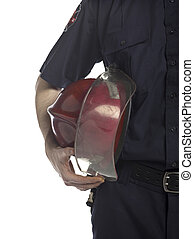 fire fighter holding helmet - Cropped close up image of fire...