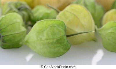 Physalis fruit (Physalis peruviana) rotating on a white...