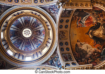BOLOGNA, ITALY - OCTOBER, 31: ceiling of Basilica San...