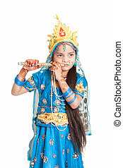 Indian little girl with flute - Girl Krishna : indian little...