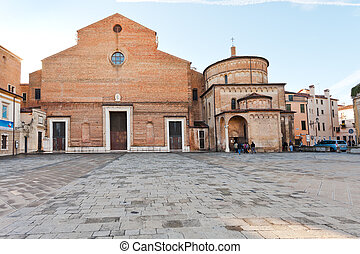 Padua Cathedral with the Baptistery, Italy - front view of...