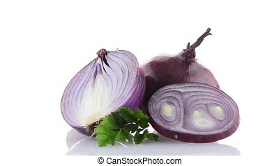 Red onion rotating on white background.