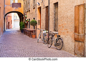 old small stone medieval street in historical center of...