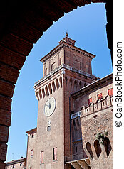 clock tower of castello estense from arch - view on clock...
