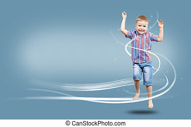 boy jumping hands up, collage, place for text