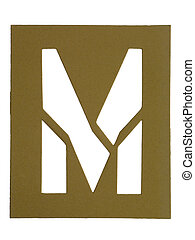 letter m - Golden cardboard with cut out letter M