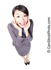 young business woman surprised smiling with open mouth and...