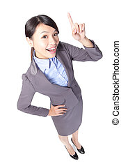 business woman finger pointing up
