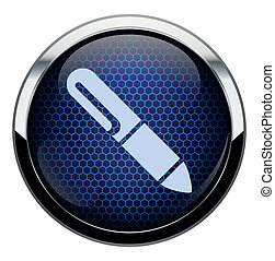 Blue honeycomb pen icon.