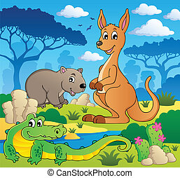 Australian animals theme 1 - vector illustration