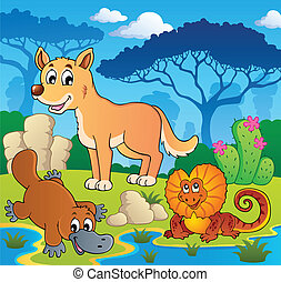 Australian animals theme 2 - vector illustration