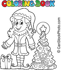 Coloring book Christmas elf theme 3 - vector illustration.