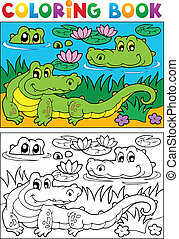 Coloring book crocodile image 2 - vector illustration