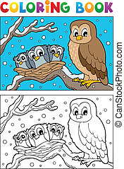 Coloring book owl theme 1 - vector illustration.