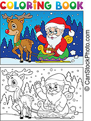 Coloring book Santa Claus topic 7 - vector illustration.