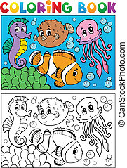 Coloring book with marine animals 4 - vector illustration