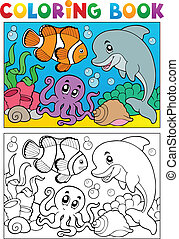 Coloring book with marine animals 6 - vector illustration.